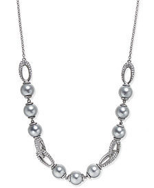 Danori Silver-Tone Imitation Pearl and Crystal Collar Necklace, Created for Macy's