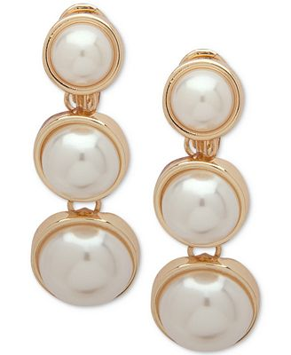 Anne Klein Gold Tone Imitation Pearl Clip On Linear Drop Earrings