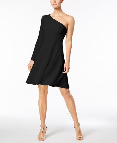 Calvin Klein One-Shoulder Fit & Flare Dress