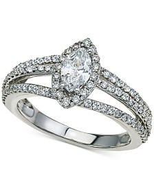 Diamond Marquise Split Shank Engagement Ring (1-1/7 ct. t.w.) in 14k White Gold
