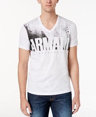 Armani Exchange Men's Logo-Print V-Neck T-Shirt