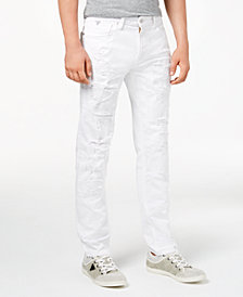 GUESS Men's Slim Tapered Fit Ripped White Jeans