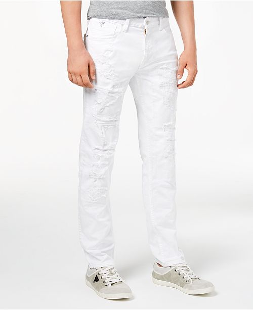 fd23583666e GUESS Men's Slim Tapered Fit Ripped White Jeans & Reviews - Jeans ...