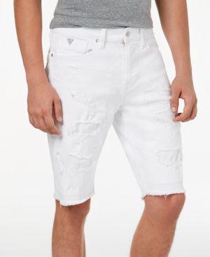 Guess Men's Slim-Fit Raw-Edge White Denim Shorts