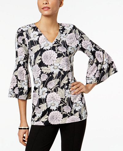 Charter Club Petite Floral-Print Bell-Sleeve Top, Created for Macy's