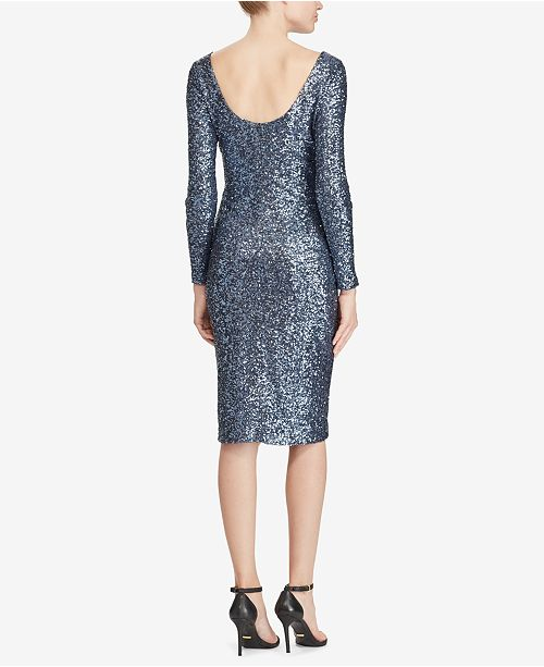 d28b4102 Lauren Ralph Lauren Sequin Scoop-Back Dress & Reviews - Dresses ...