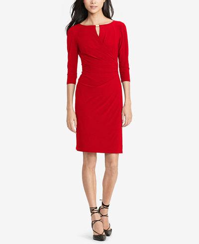 Lauren Ralph Lauren Keyhole Faux Wrap Dress Dresses