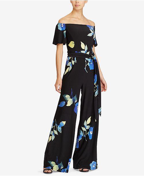 93b15b6a45d146 Lauren Ralph Lauren Floral-Print Off-The-Shoulder Jumpsuit   Reviews ...