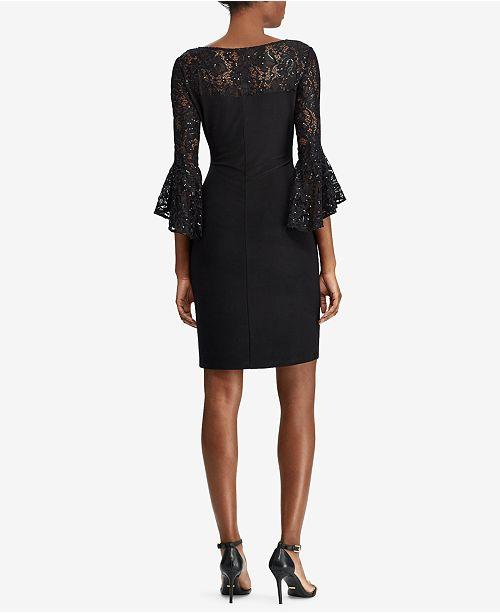 d225a3d74cdd1 Lauren Ralph Lauren Lace-Trim Dress   Reviews - Dresses - Petites ...