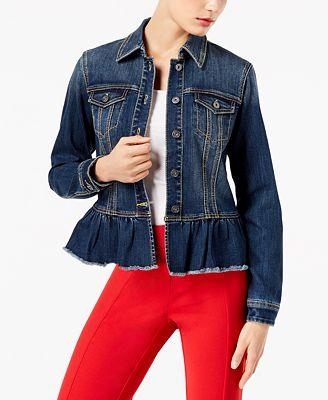 Inc International Concepts I N C Ruffled Denim Jacket Created For
