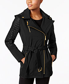MICHAEL Michael Kors Asymmetrical Quilted-Sleeve Belted Raincoat