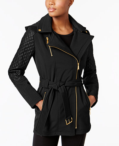 Michael Michael Kors Asymmetrical Quilted Sleeve Trench