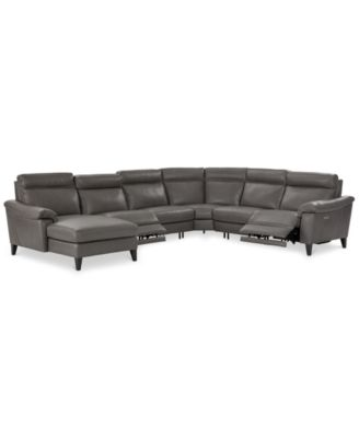 Pirello 6 Pc. Leather Sectional Sofa With Chaise, 2 Power Recliners