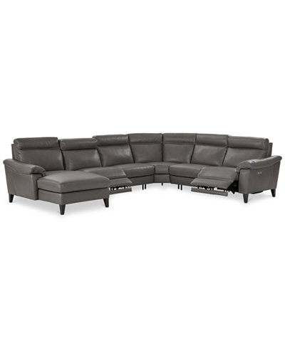 CLOSEOUT! Pirello 6-Pc. Leather Sectional Sofa With Chaise, 2 Power Recliners with Power Headrests and USB Port, Created for Macy's