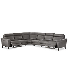 Pirello II 6-Pc. Leather Sectional Sofa With 2 Power Recliners with Power Headrests and USB Port, Created for Macy's