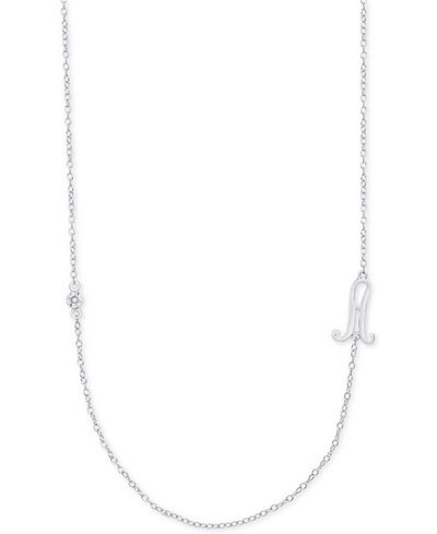 Diamond Accent Initial Pendant in Sterling Silver