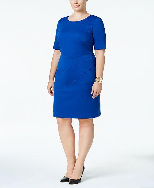 Ellen Tracy Plus Size Short-Sleeve Sheath Dress