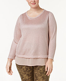 I.N.C. Plus Size Layered-Look Metallic Knit Top, Created for Macy's