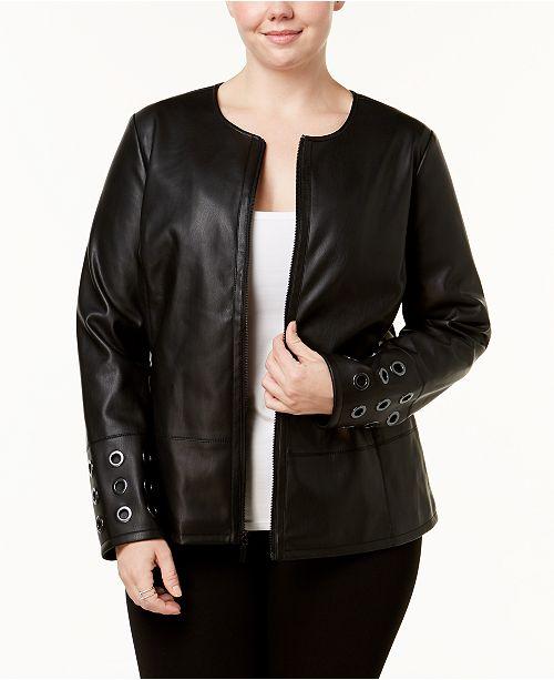 182805365a3fe ... Alfani Plus Size Grommet-Trim Faux-Leather Jacket