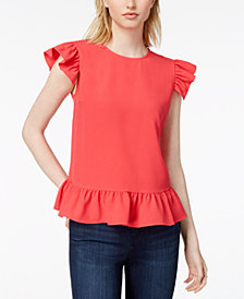 Maison Jules Ruffled Flutter-Sleeve Top, Created for Macy's