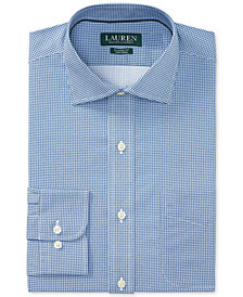 Lauren Ralph Lauren Men's Classic/Regular Fit Non-Iron Sapphire/White Houndstooth Dress Shirt