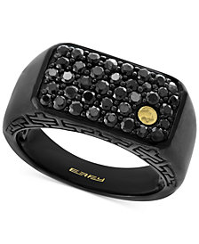 EFFY® Men's Black Sapphire Cluster Ring (1-3/8 ct. t.w.) in Black Rhodium-Plated Sterling Silver and 18k Gold