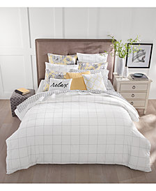 CLOSEOUT! Charter Club Damask Designs Windowpane Duvet Cover Sets, Created for Macy's