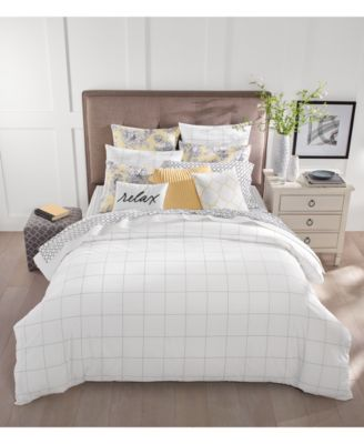 The Damask Designs Windowpane Bedding Collection From Charter Club Features  A Fashionable White Ground With A Black Line Check Pattern And The Soft  Touch Of ...