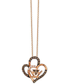 Le Vian Chocolatier® Double Heart Pendant Necklace (1/4 ct. t.w.) in 14k Rose Gold