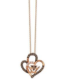 Le Vian Chocolatier® Double Heart Pendant Necklace (1/4 ct. t.w.) in 14k Rose Gold