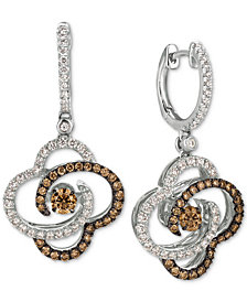 Le Vian Chocolatier® Diamond Clover Drop Earrings (1-1/4 ct. t.w.) in 14k White Gold