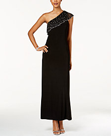 MSK Embellished One-Shoulder Gown