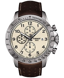 Men's Swiss Automatic Chronograph T-Sport V8 Brown Leather Strap Watch 45mm