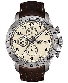 Tissot Men's Swiss Automatic Chronograph T-Sport V8 Brown Leather Strap Watch 45mm
