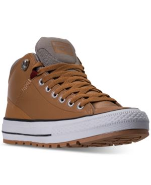 Men'S Chuck Taylor All Star Street Mid Leather Casual Sneakerboots From Finish Line in Raw Sugar