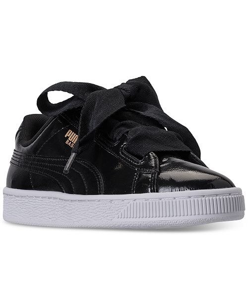 quality design a2680 8d2af Puma Big Girls' Basket Heart Glam Casual Sneakers from ...