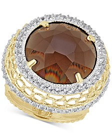 Smoky Quartz (12-3/4 ct. t.w.) & White Topaz (3/4 ct. t.w.) Ring in 14k Gold-Plated Sterling Silver