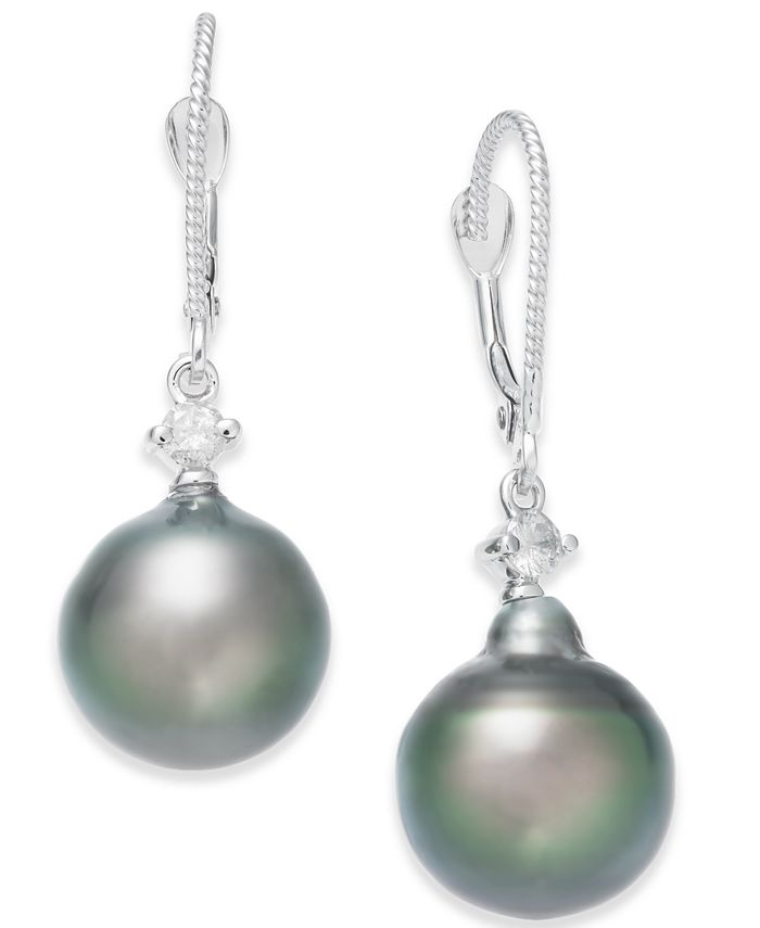Macy's - Cultured Baroque Tahitian Black Pearl (11mm) and Diamond (1/6 ct. t.w.) Drop Earrings in 14k White Gold