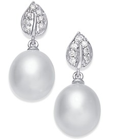 Cultured Tahitian Black Pearl (9mm) & Diamond (1/8 ct. t.w.) Drop Earrings in 14k White Gold (Also in White Cultured Pearl)