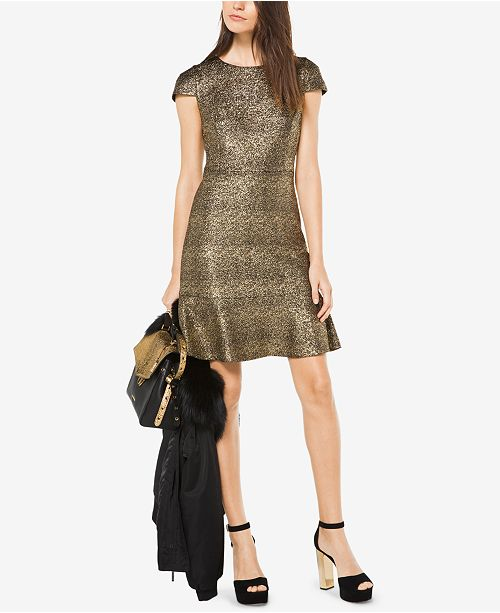 6669c2839b86 Michael Kors Metallic-Knit A-Line Dress   Reviews - Dresses ...