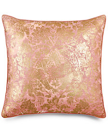 "LAST ACT! Lacourte Renee Faux-Linen Metallic-Print 22"" Square Decorative Pillow, Created for Macy's"