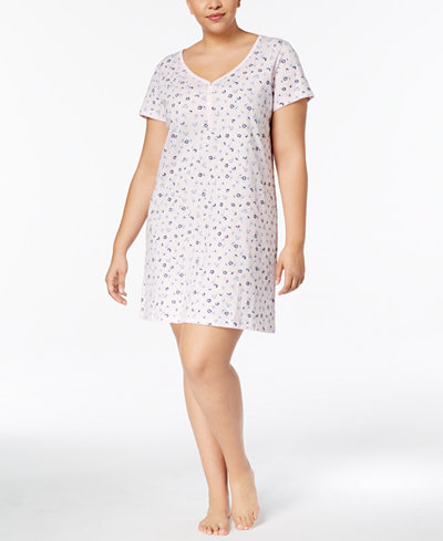 Charter Club Plus Size Cotton Picot-Trim Sleepshirt, Created for Macy's