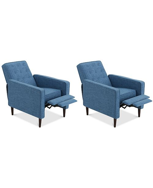 Noble House Wadena Recliner Club Chair (Set Of 2), Quick Ship