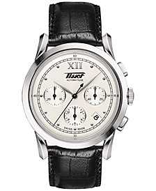 Tissot Men's Swiss Automatic Chronograph Heritage 1948 Black Leather Strap Watch 39.5mm