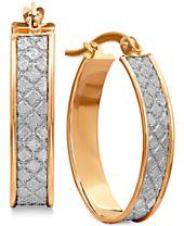 Textured Glittery Hoop Earrings in 14k Gold, White Gold or Rose Gold