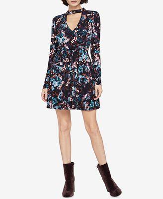 BCBGeneration Floral-Print Choker-Neck Fit & Flare Dress