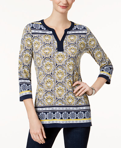 Charter Club Printed Split-Neck Top, Created for Macy's