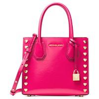 Michael Kors Mercer Medium Heart Studded Ultra Pink Messenger Bag (Ultra Pink)