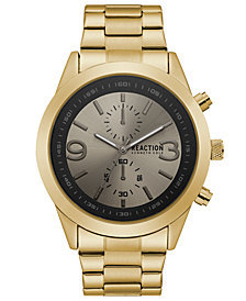 Kenneth Cole Reaction Men's Gold-Tone Stainless Steel Bracelet Watch 47mm