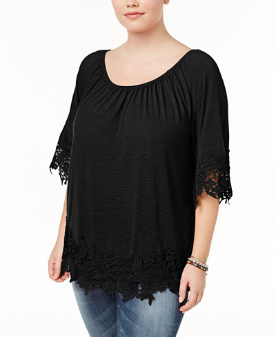 f7cf2e42e3b1b Style   Co Plus Size Off-The-Shoulder Crochet-Trim Top